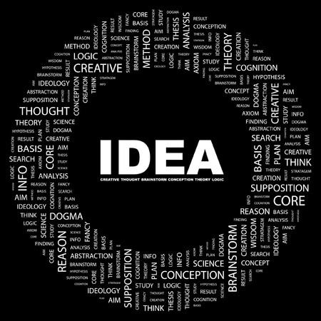 IDEA. Word collage on black background. Vector illustration.    Vector