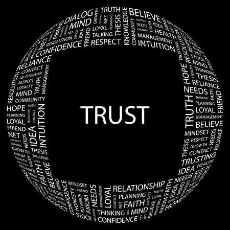 more information: TRUST. Word collage on black background. Vector illustration.    Illustration