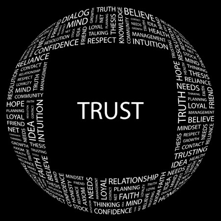 reliance: TRUST. Word collage on black background. Vector illustration.    Illustration