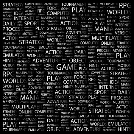 GAME. Word collage on black background. Vector illustration.    Vector