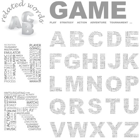 alphabetic character: GAME. Vector letter collection. Wordcloud illustration.