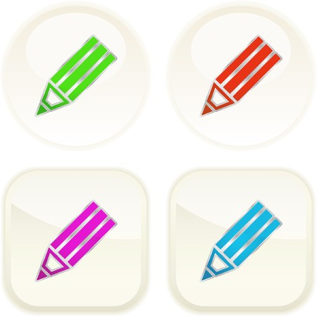 Pencil button set for web.   Vector