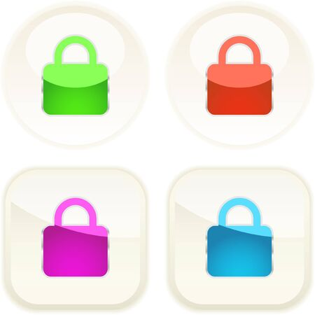 Padlock button set. Vector collection.    Stock Vector - 7371327