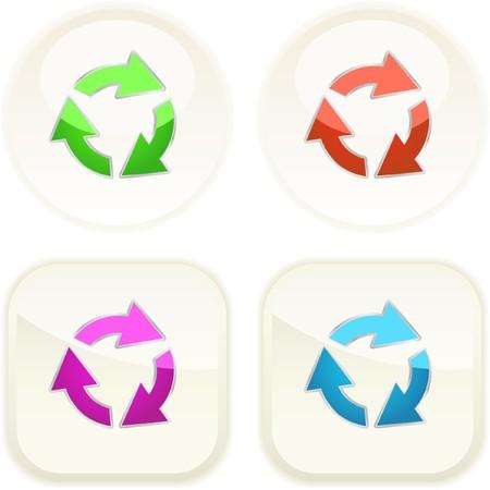 Recycle symbol button. Vector set.   Vector