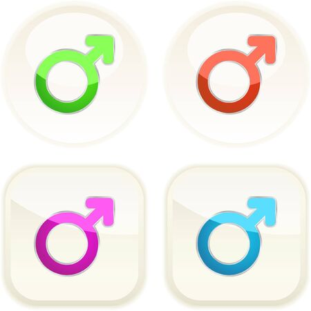 Male symbol. Vector button set.   Stock Vector - 7371436