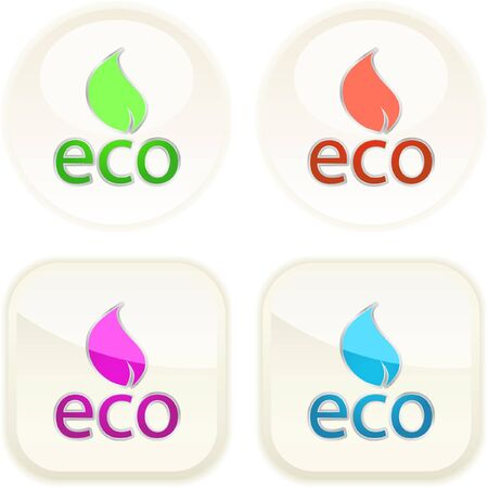 Set of eco buttons Stock Vector - 7371457