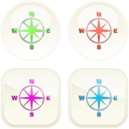 Vector compass. Button set.    Vector