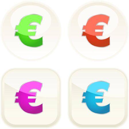 Euro icon. Vector set.   Vector