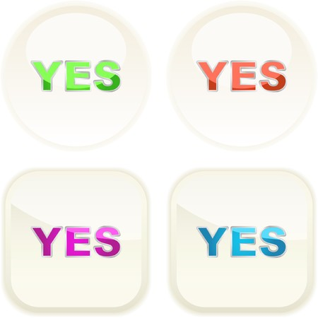 approbate: YES button. Vector set.