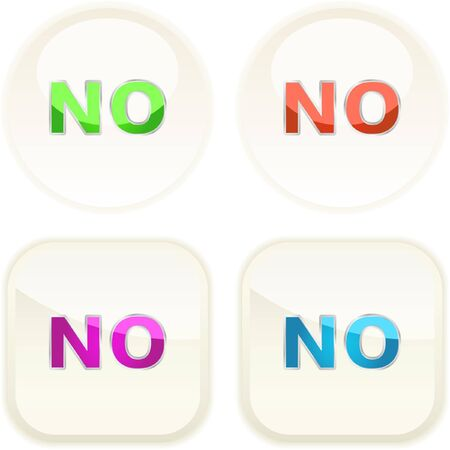 NO button. Vector set.   Illustration