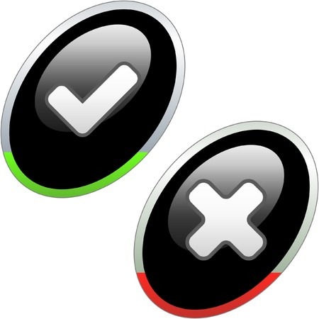 concordance: Approved and rejected button set.