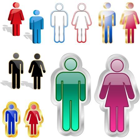 heterosexual: S�mbolos masculinos y femeninos.  Vectores