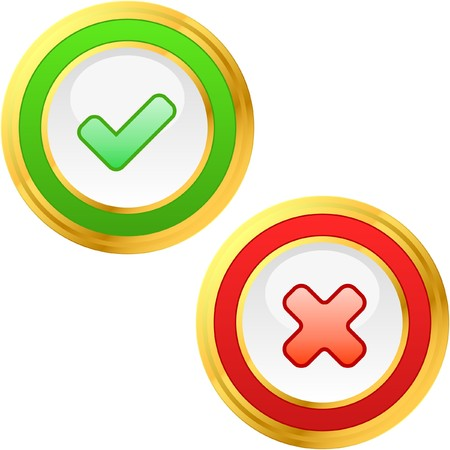 Approved and rejected buttons. Stock Vector - 7482188