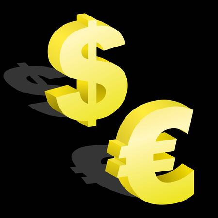 dollar and euro signs. 3D illustration. Vector