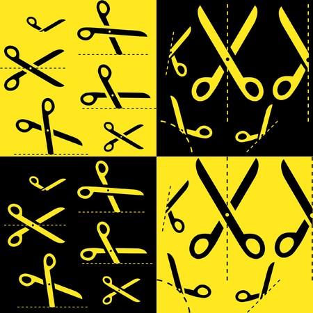 scissors with cut lines Stock Vector - 7482186