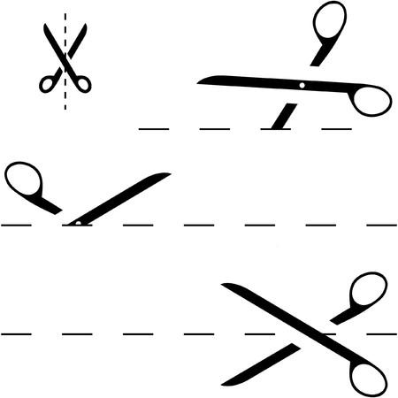cutting blade: Tijeras con l�neas de corte  Vectores