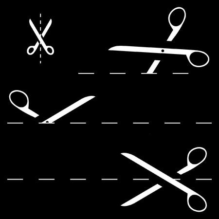 scissors with cut lines   Stock Vector - 7493414
