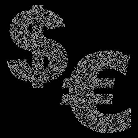 euro teken: dollar en euro teken  Stock Illustratie