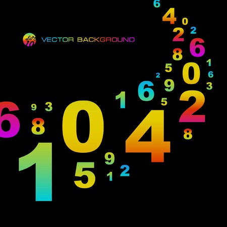 Abstract background with numbers signs.   Vector