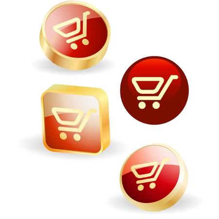 Shopping cart.  button set. Stock Vector - 7557751