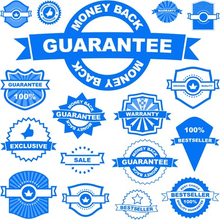 guaranree:  collection of sale signs    Illustration