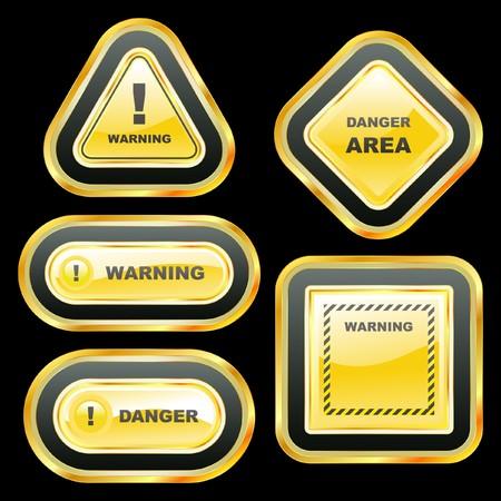 dangerous work: Warning banner set.  template.    Illustration