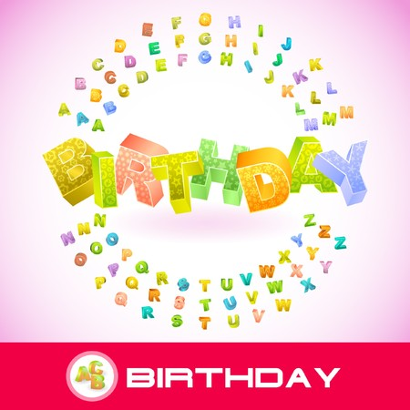 best wishes: BIRTHDAY. 3d illustration.