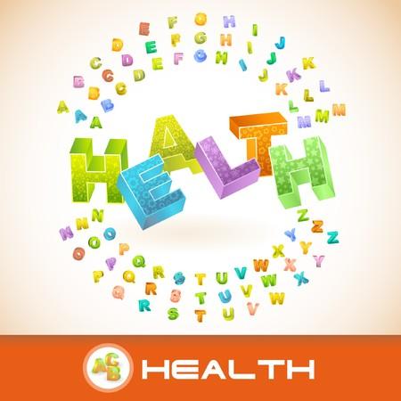 hearty: HEALTH. 3d illustration.