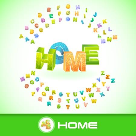 HOME. 3d illustration. Vector