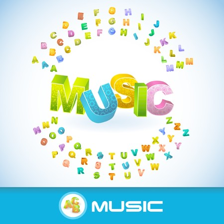 MUSIC. 3d illustration. Vector