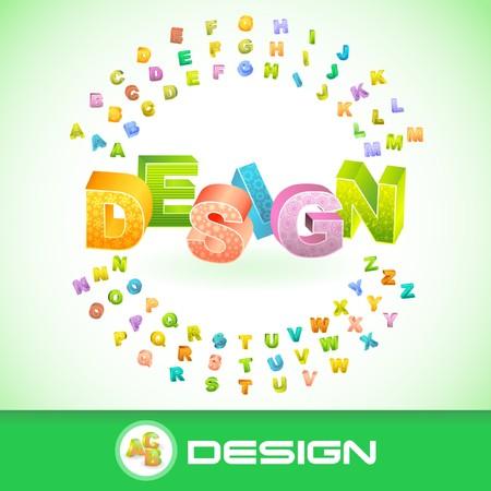 DESIGN. 3d illustration. Vector