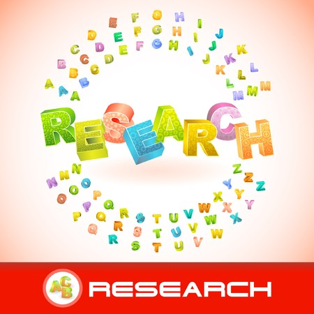 RESEARCH. 3d illustration. Vector