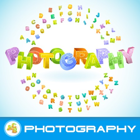 PHOTOGRAPHY. Colored 3d alphabet. Vector