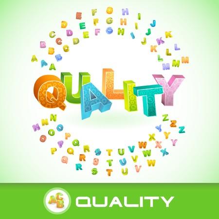 QUALITY. Colored 3d alphabet. Vector