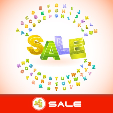SALE. Colored 3d alphabet. Vector