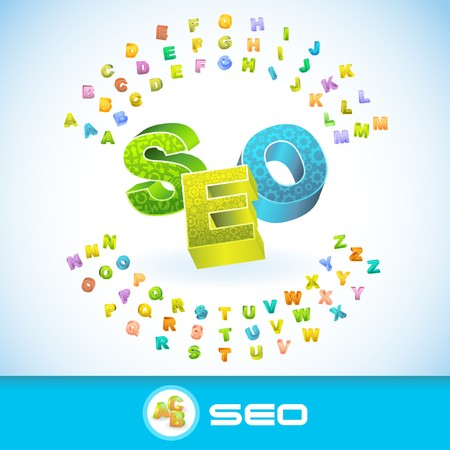 SEO. Colored 3d alphabet. Vector