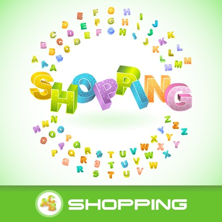 going green: SHOPPING. Colored 3d alphabet.