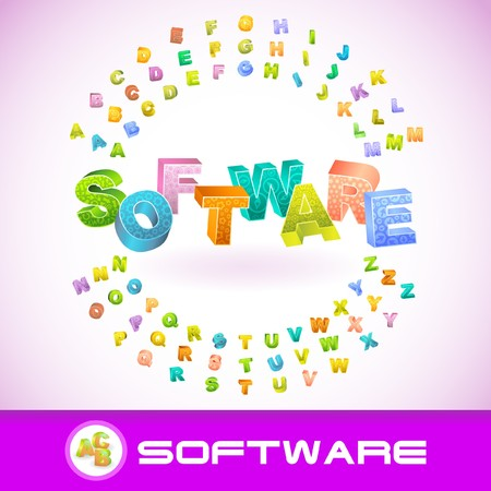 SOFTWARE. Colored 3d alphabet. Vector