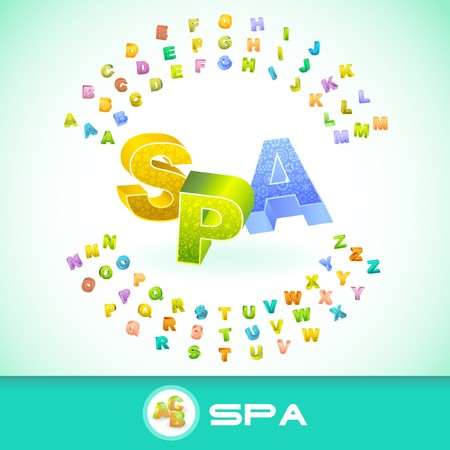 SPA. Colored 3d alphabet. Illustration