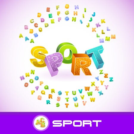 SPORT. Colored 3d alphabet. Stock Vector - 7800544