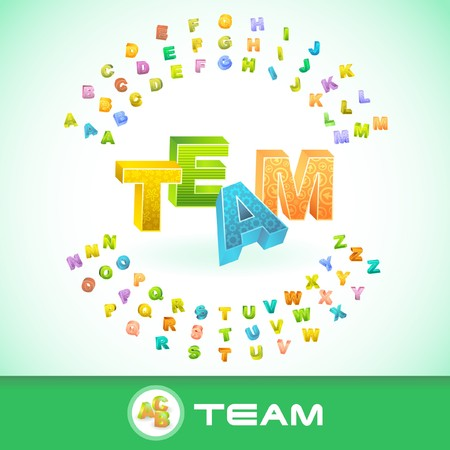 TEAM. Colored 3d alphabet. Vector