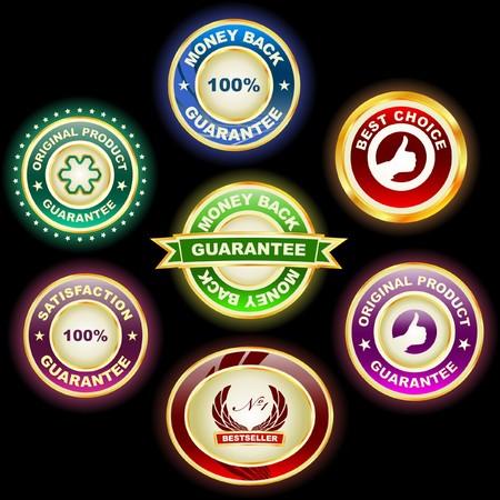 Guarantee label set for sale.   Vector