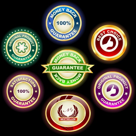 guaranty: Guarantee label set for sale.
