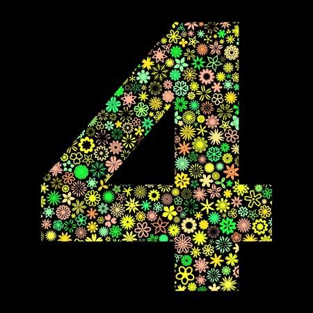 decimal: FOUR. Floral illustration. Illustration