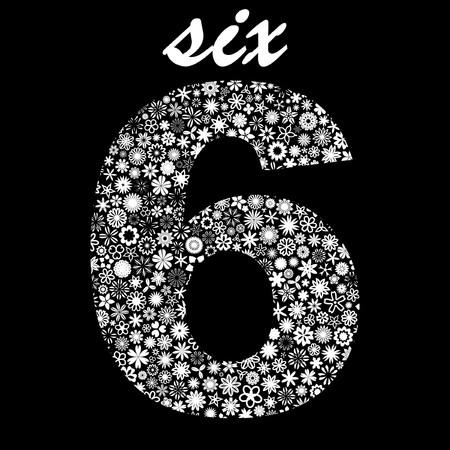 sixth form: SIX. Floral illustration.