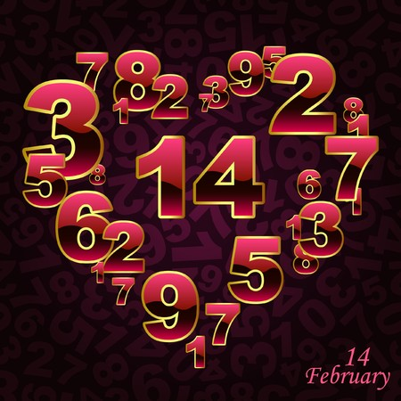 Love illustration with number mix. Vector