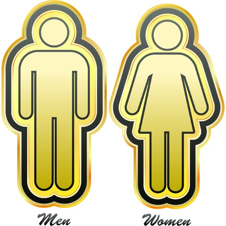 wife of bath: Men and women signs. Graphic elements set.