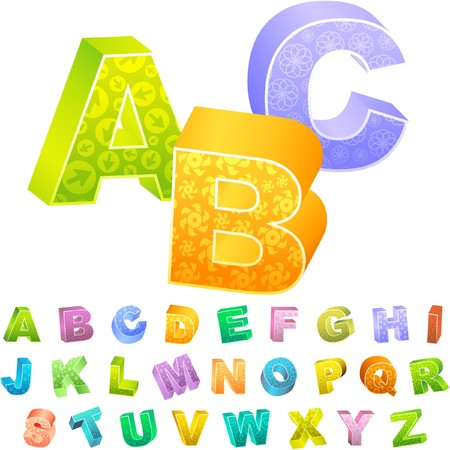 learn english: Colored 3d alphabet.