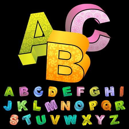 alphabetic character: Colored 3d alphabet.