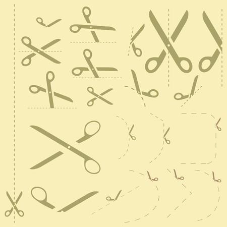 hyphen: Forbici con linee di taglio modelli tra cui scegliere  Vettoriali